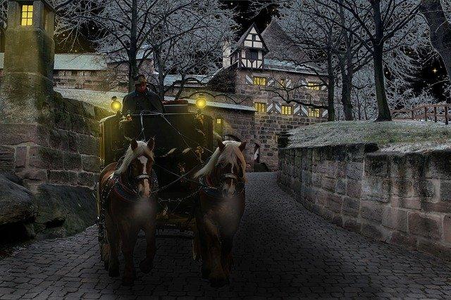kočár s koňmi
